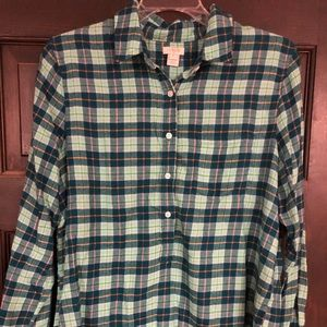 JCrew plaid flannel pull over top